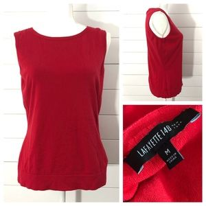 LAFAYETTE 148 Scoop Neck Knit Tank Top Red M EUC